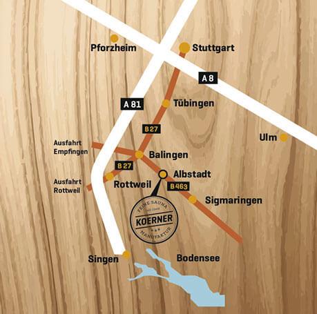 Anfahrt KOERNER Saunabau, Baden-Württemberg