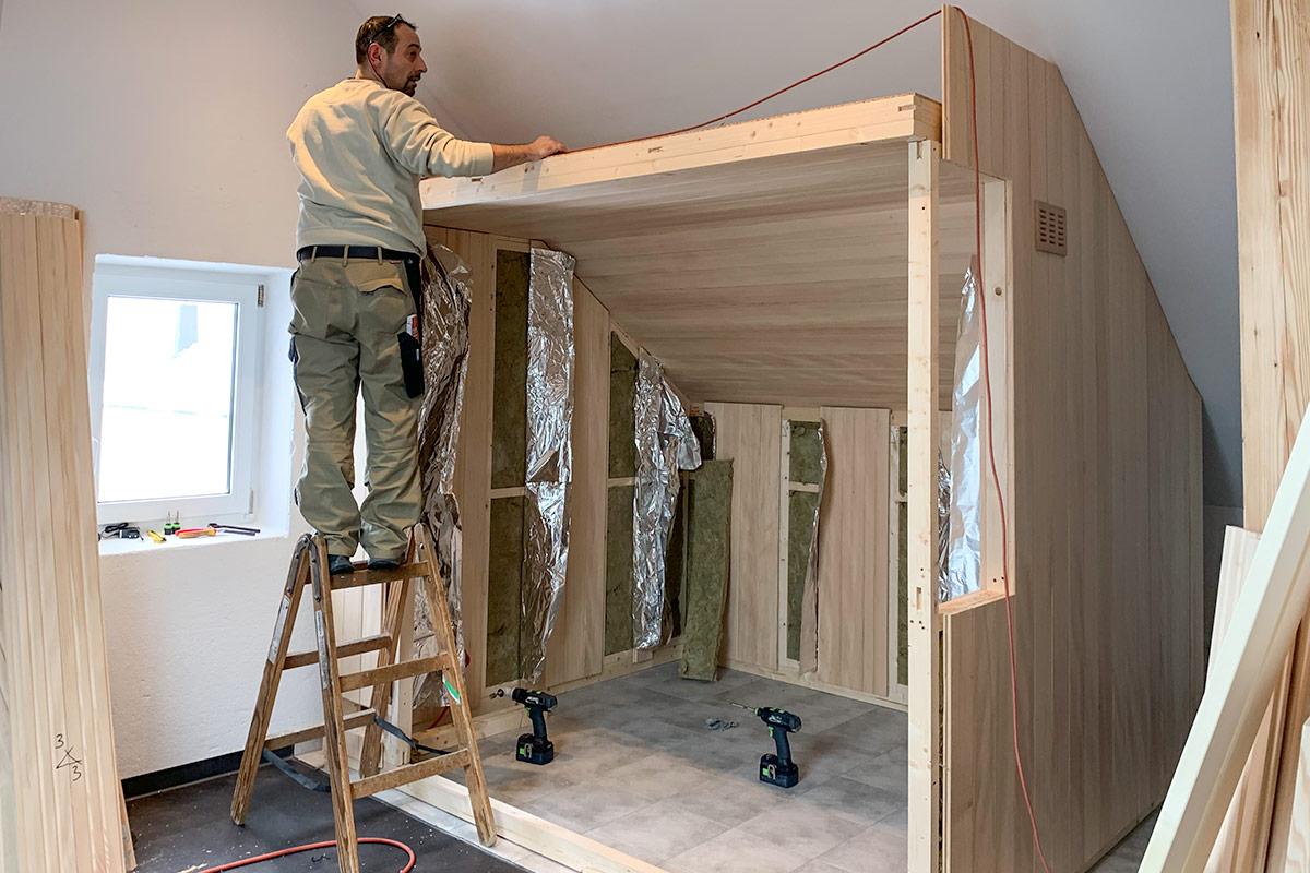 KOERNER Saunabau in Dachschräge