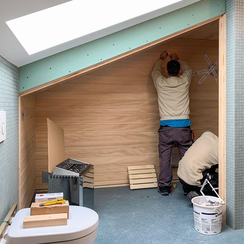 KOERNER Saunabau, angepasst an Dachschräge