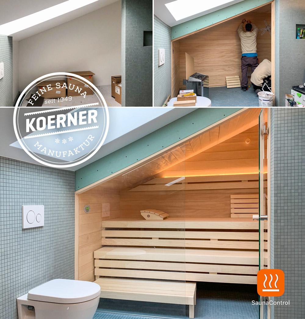 KOERNER Sauna angepasst an Dachschräge mit Bedienung per SaunaControl App