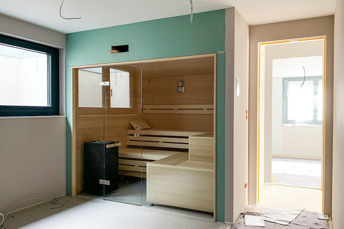 Saunabau im Fitnessraum in Stuttgart