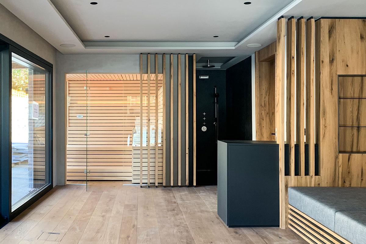 Design-Sauna Lineus im Ferienhaus
