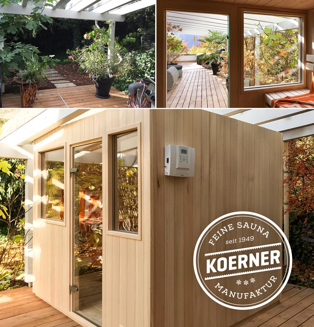 KOERNER Sauna mit Outdoor-Paket auf Terasse