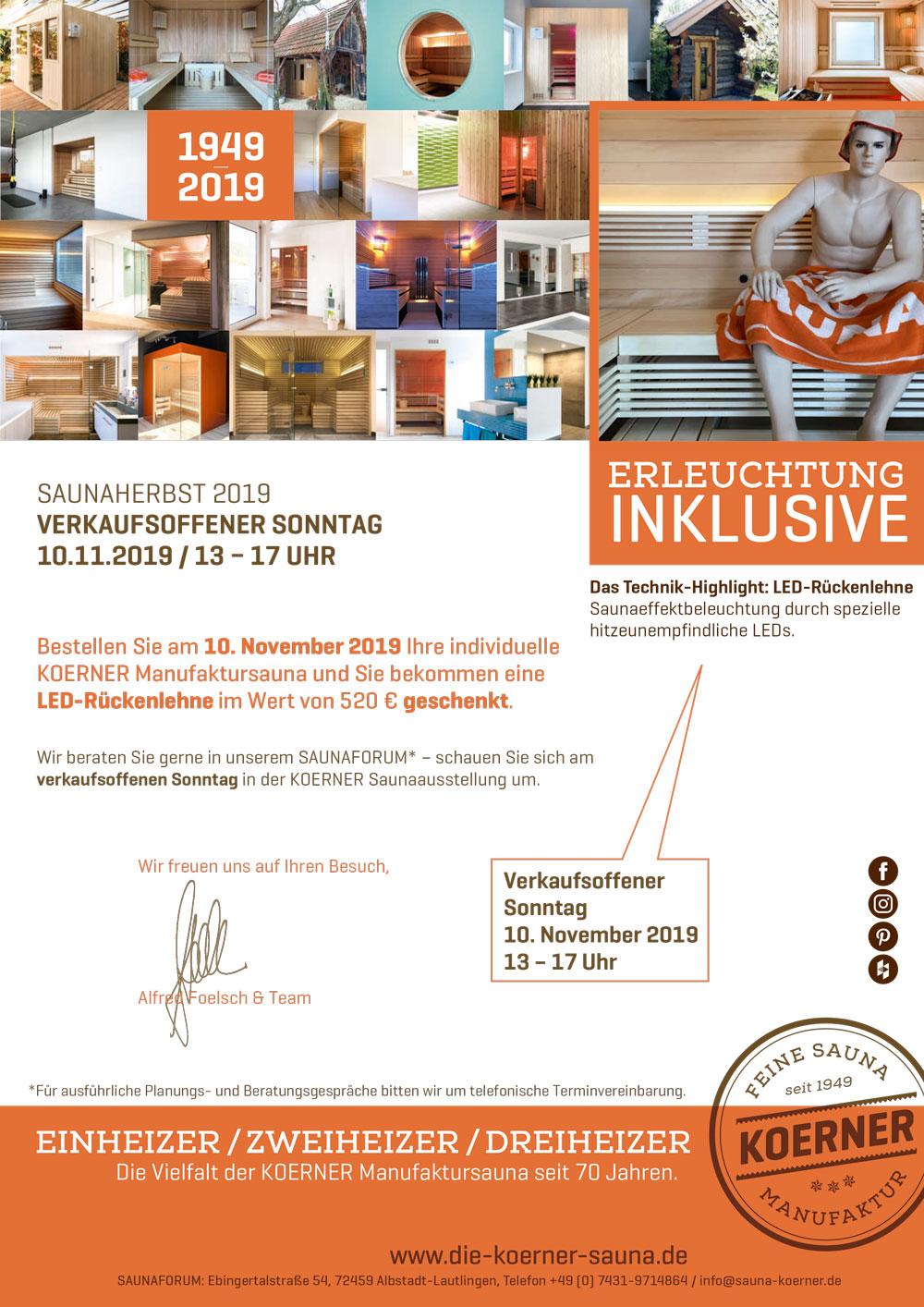 Verkaufsoffener Sonntag im Saunaforum Albstadt