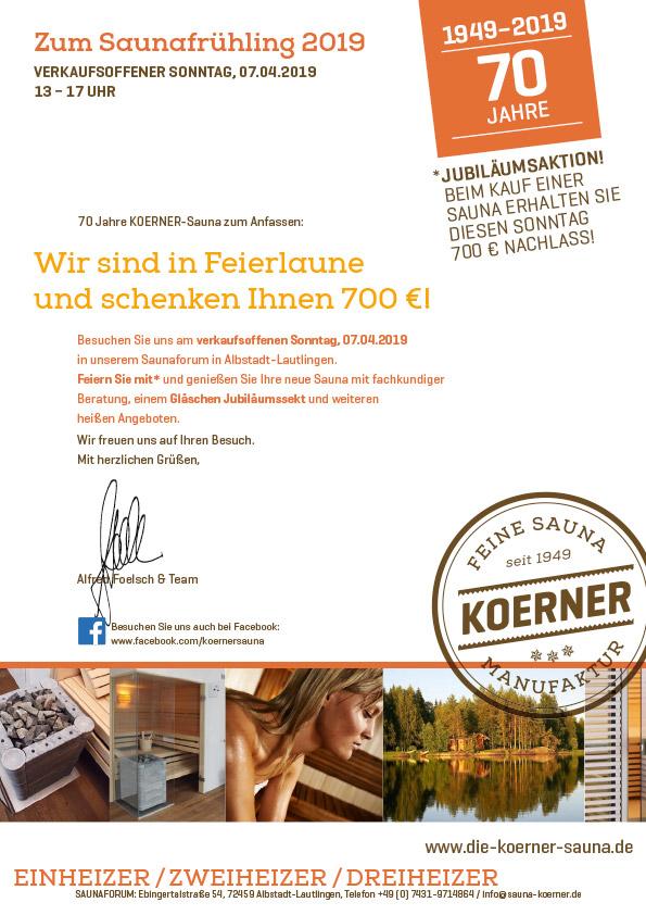 70 Jahre KOERNER Sauna – Verkaufsoffener Sonntag im Saunaforum in Albstadt