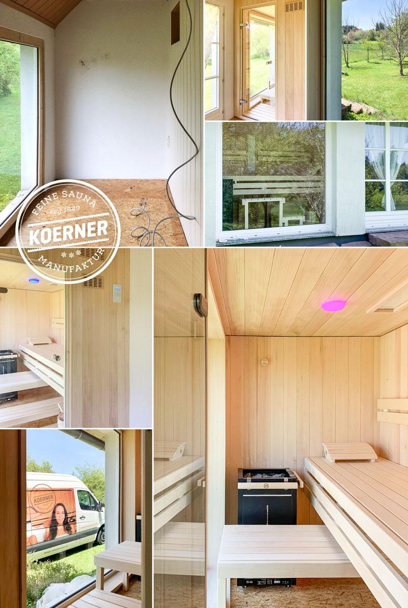 Vorher nachher: KOERNER Sauna mit großem Fenster und herrlichem Blick in die Natur