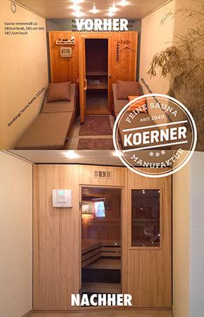 Vorher-Nachher-Bild Koerner Sauna Modus Dreiheizer Wellnessbereich