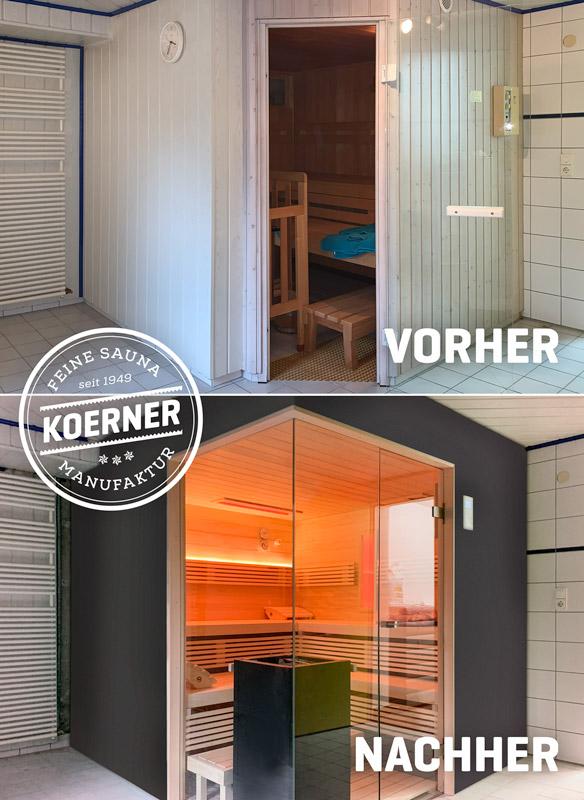 Vorher-nachher: neue KOERNER Sauna