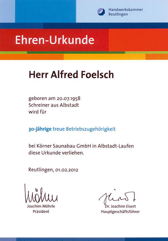 Ehrenurkunde Alfred Foelsch
