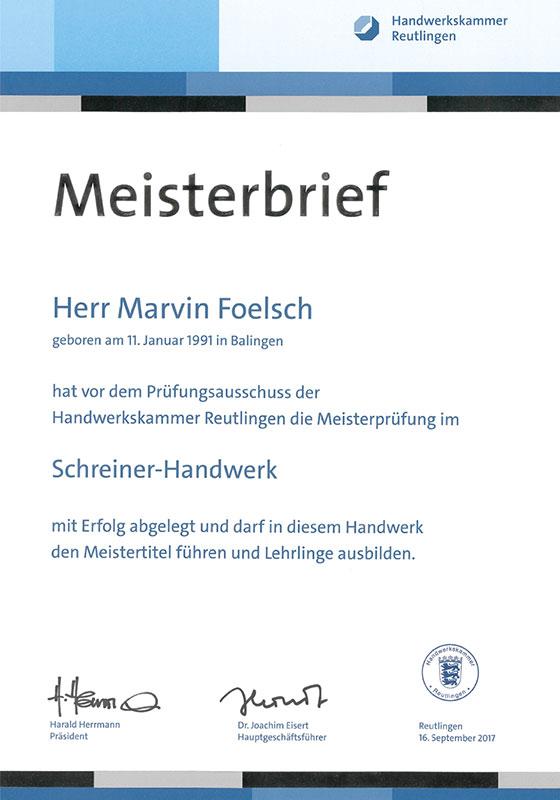 Meisterbrief Marvin Foelsch