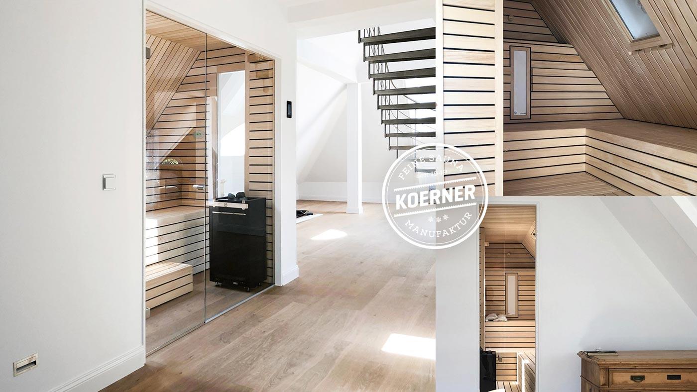 KOERNER Sauna nach Maß in Dachschräge mit Dachfenster