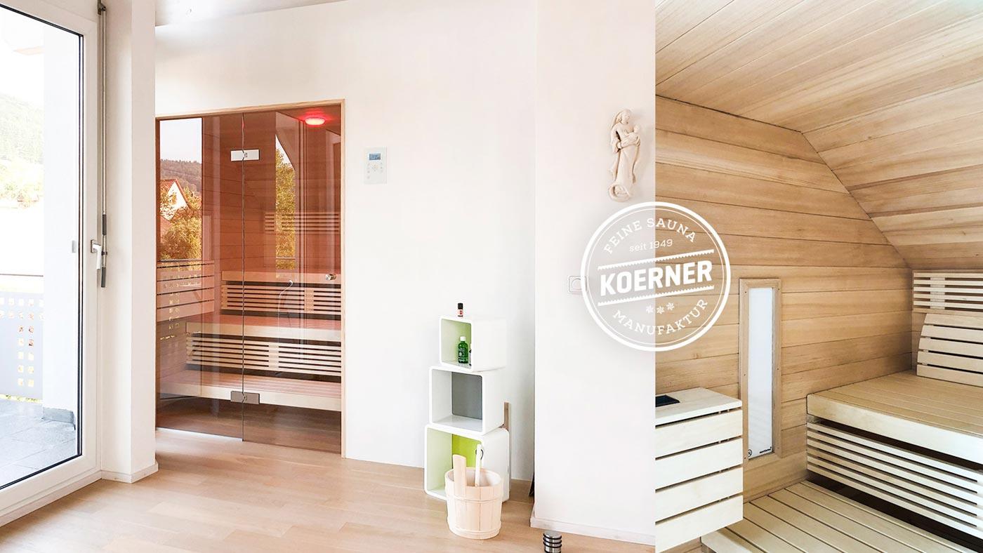Individuell gefertigte KOERNER Sauna mit Glastüre