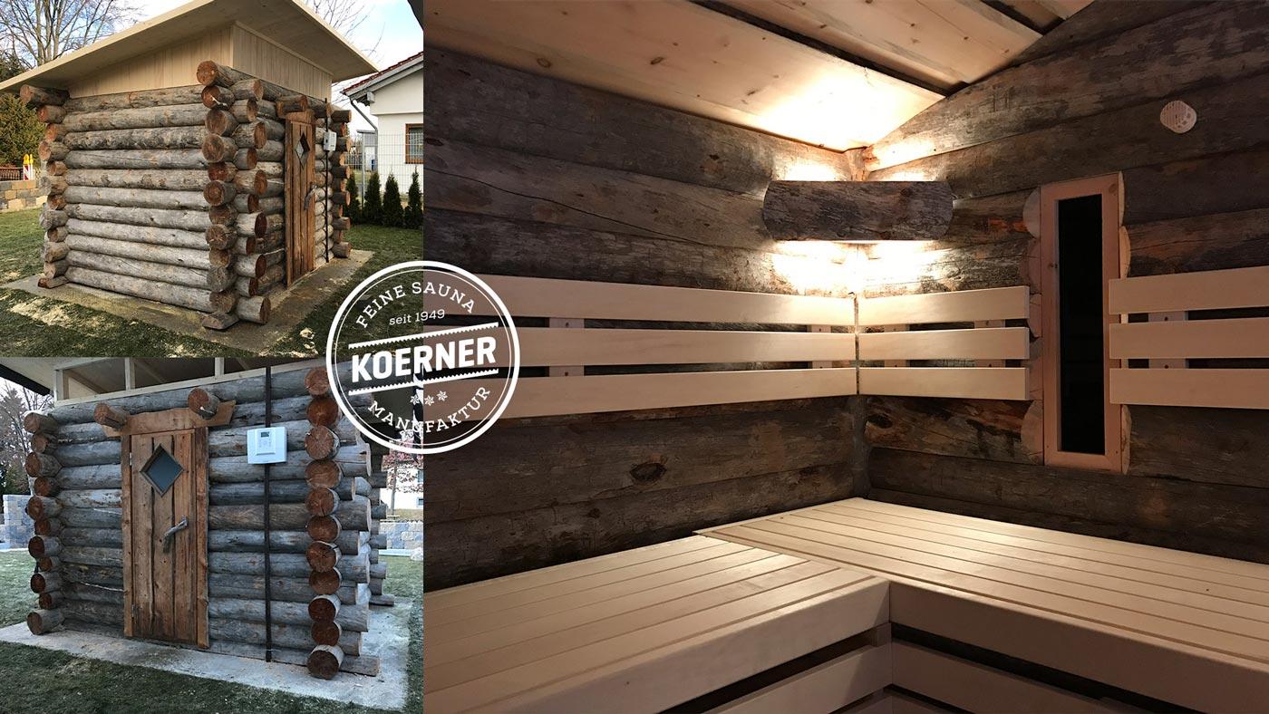 KOERNER Blockhaus-Sauna im Garten