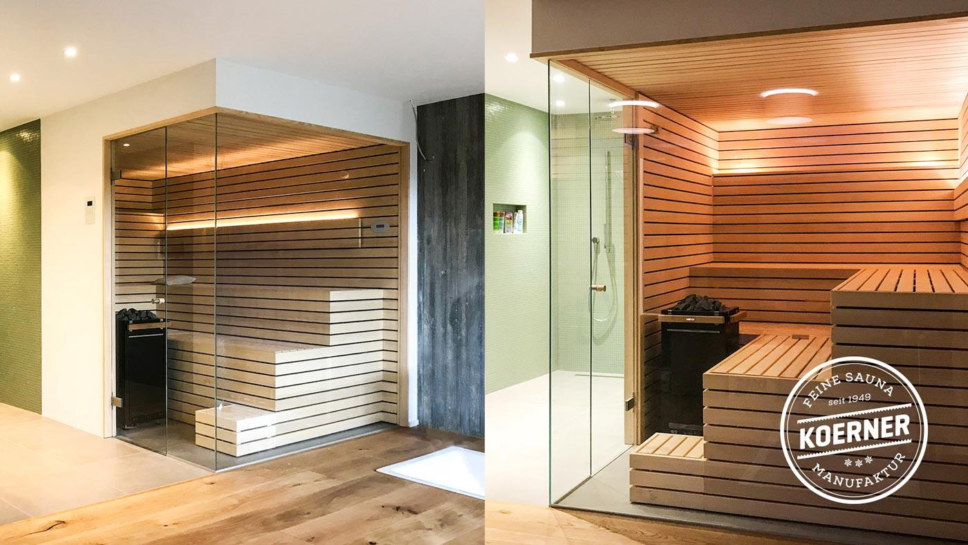 Individuelle KOERNER Sauna mit Glasfront