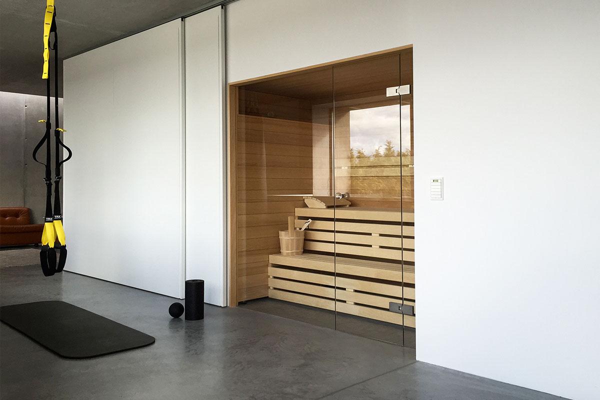 KOERNER Sauna Modus mit Glasfront
