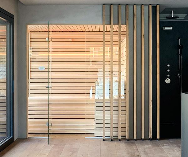 Design Sauna aus Weißtanne